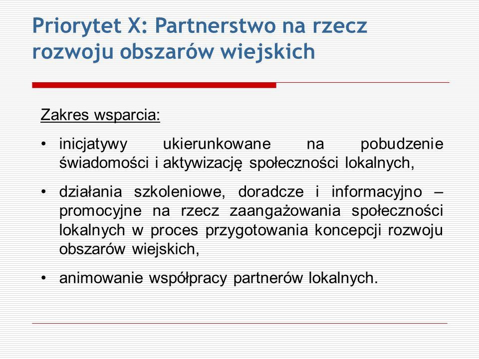 Priorytet X: Partnerstwo na rzecz rozwoju obszarów wiejskich