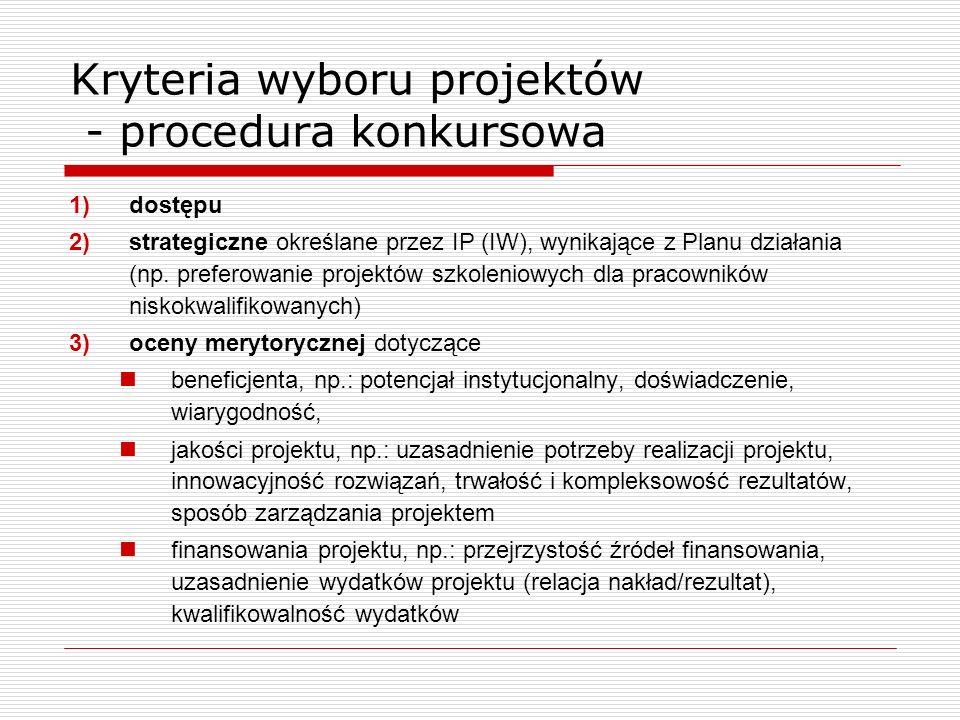 Kryteria wyboru projektów - procedura konkursowa