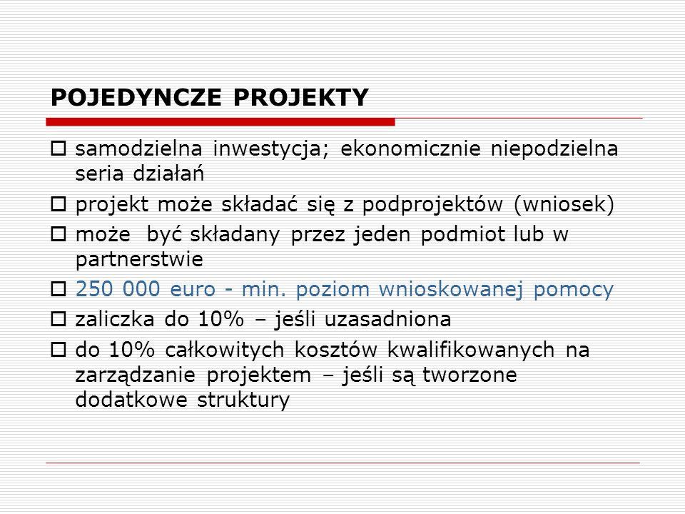 POJEDYNCZE PROJEKTY samodzielna inwestycja; ekonomicznie niepodzielna seria działań. projekt może składać się z podprojektów (wniosek)