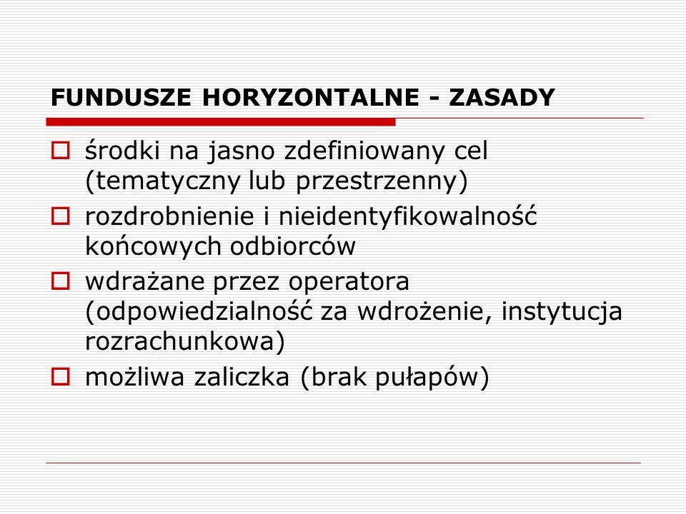 FUNDUSZE HORYZONTALNE - ZASADY