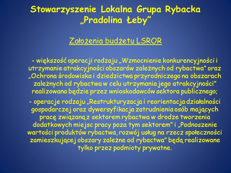 """Stowarzyszenie Lokalna Grupa Rybacka """"Pradolina Łeby Założenia budżetu LSROR"""