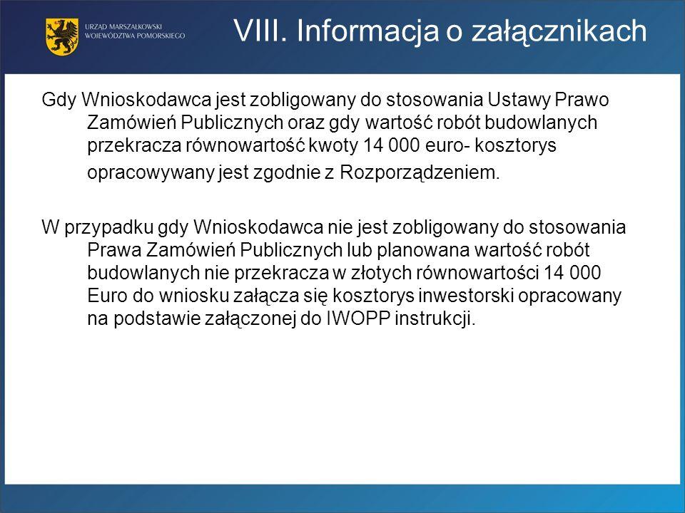 VIII. Informacja o załącznikach