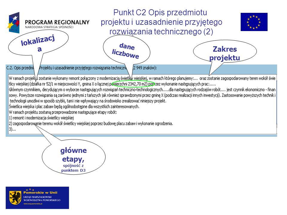 główne etapy, spójność z punktem D3
