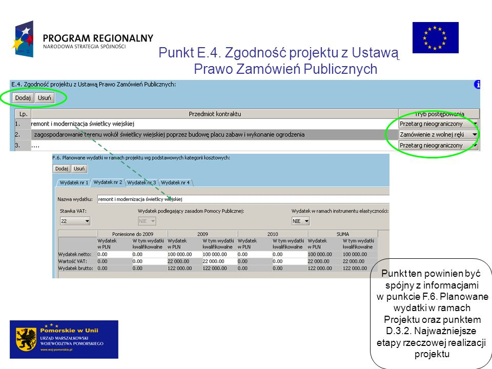 Punkt E.4. Zgodność projektu z Ustawą Prawo Zamówień Publicznych