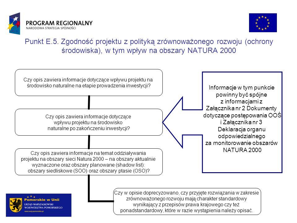 Punkt E.5. Zgodność projektu z polityką zrównoważonego rozwoju (ochrony środowiska), w tym wpływ na obszary NATURA 2000