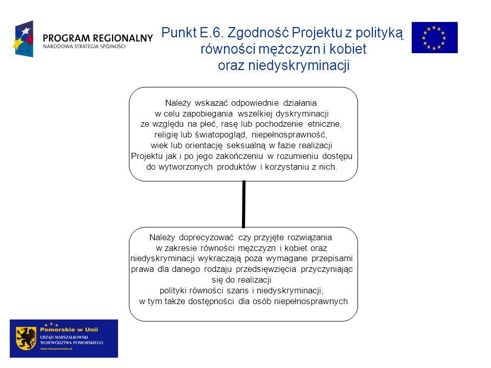 Punkt E.6. Zgodność Projektu z polityką równości mężczyzn i kobiet