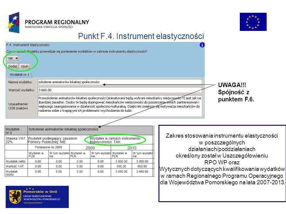 Punkt F.4. Instrument elastyczności