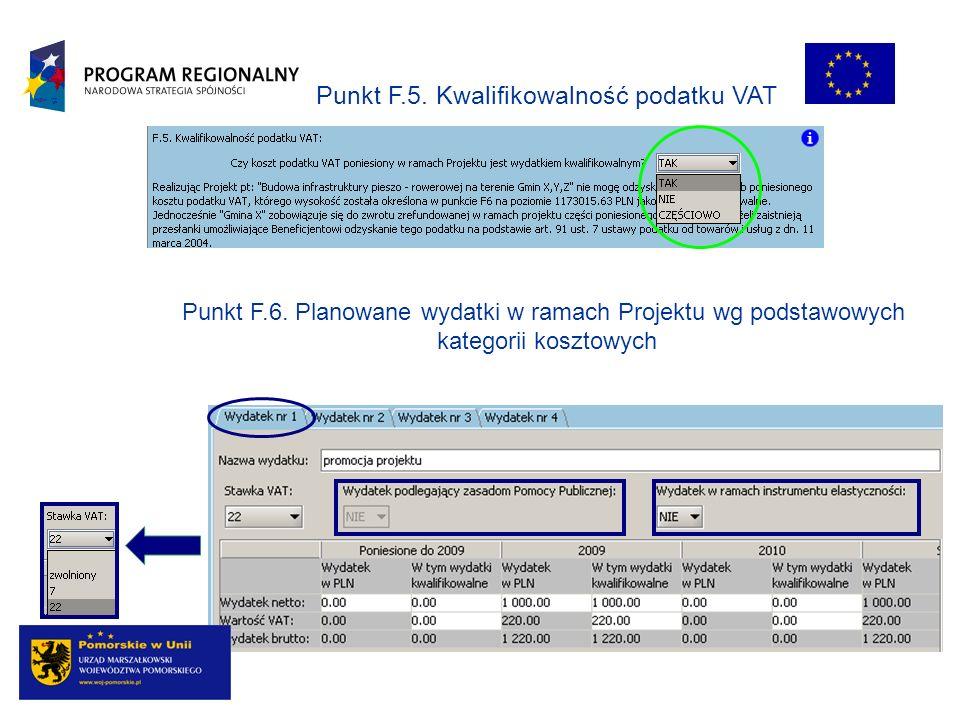 Punkt F.6. Planowane wydatki w ramach Projektu wg podstawowych