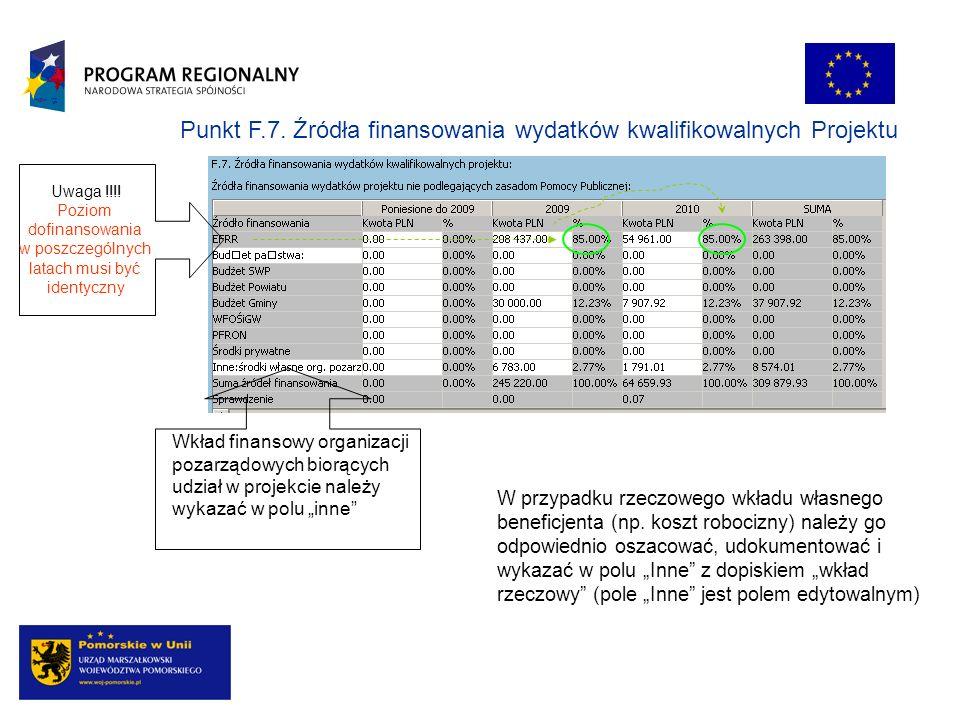 Punkt F.7. Źródła finansowania wydatków kwalifikowalnych Projektu