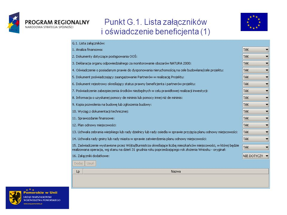 Punkt G.1. Lista załączników i oświadczenie beneficjenta (1)