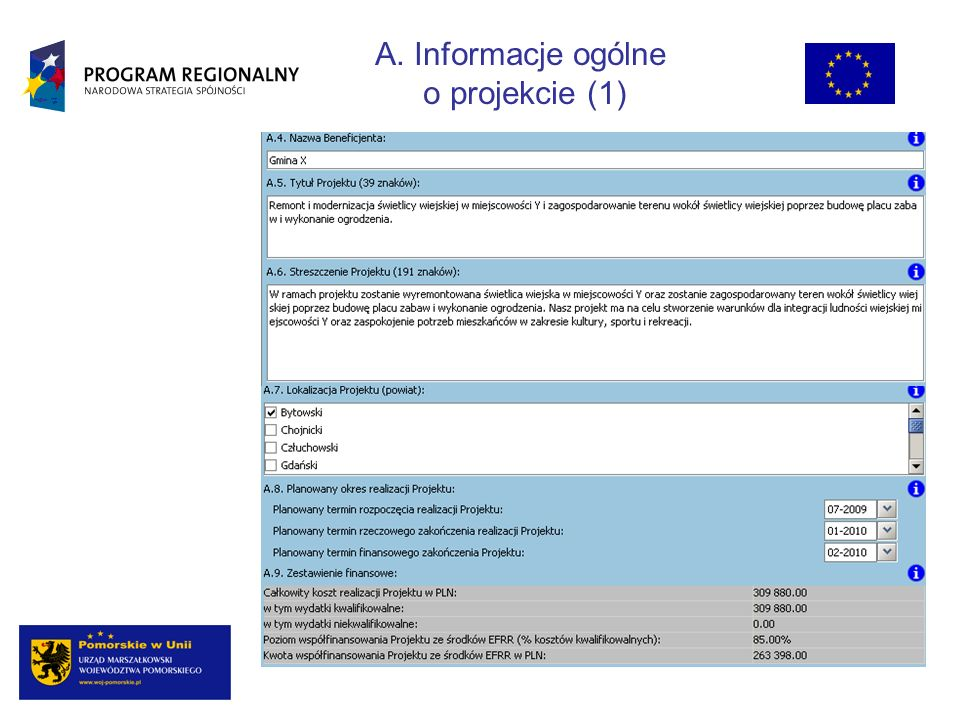 A. Informacje ogólne o projekcie (1)