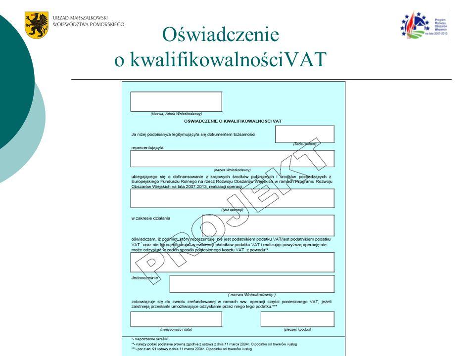 Oświadczenie o kwalifikowalnościVAT