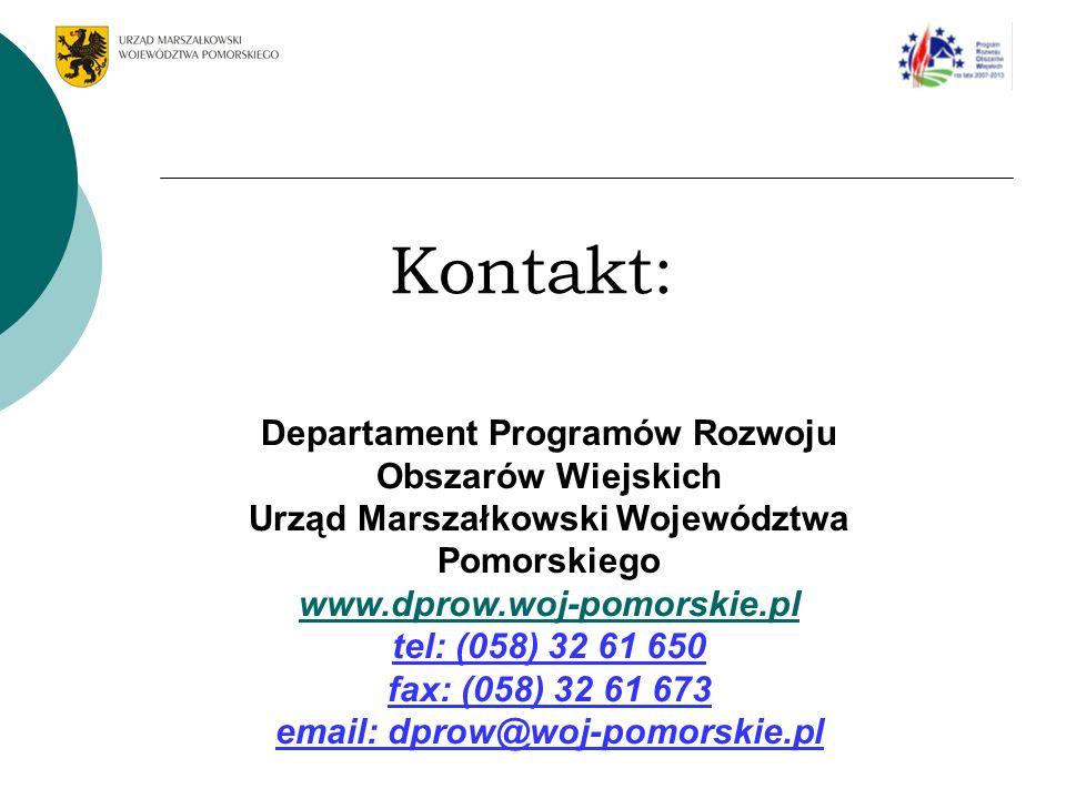 Kontakt: Departament Programów Rozwoju Obszarów Wiejskich