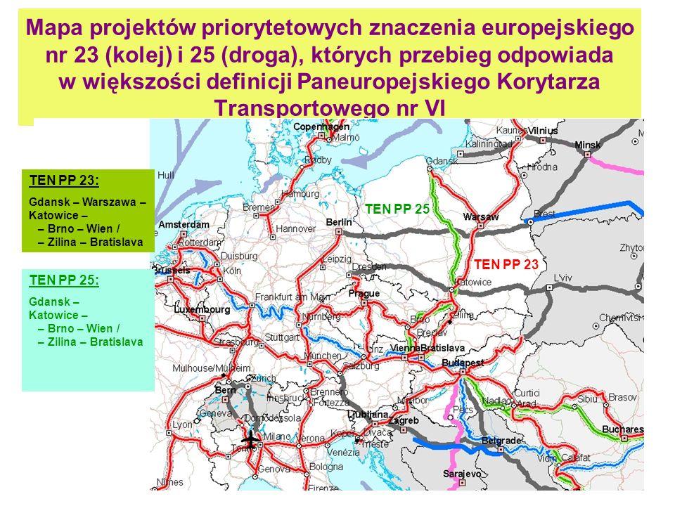 Mapa projektów priorytetowych znaczenia europejskiego nr 23 (kolej) i 25 (droga), których przebieg odpowiada w większości definicji Paneuropejskiego Korytarza Transportowego nr VI