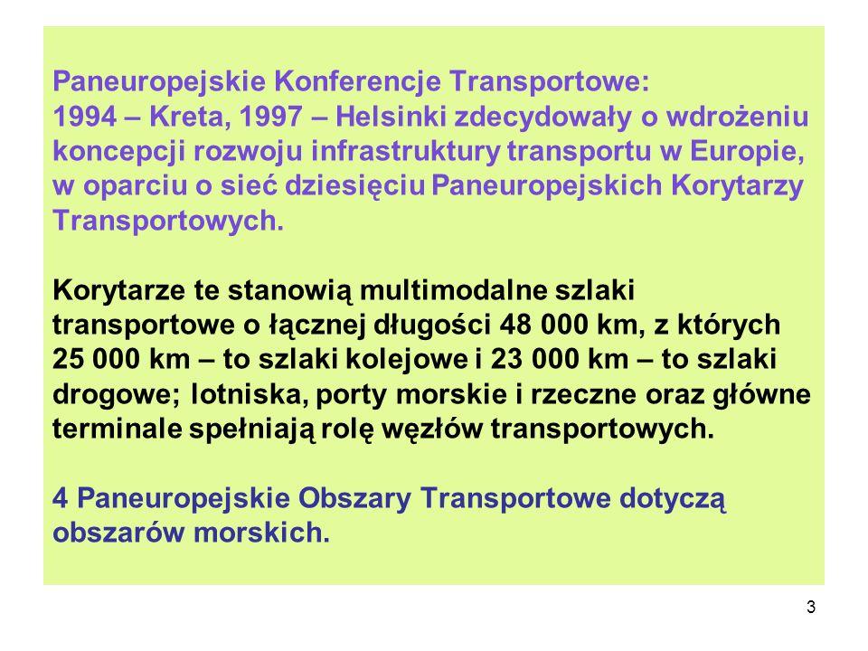 Paneuropejskie Konferencje Transportowe: 1994 – Kreta, 1997 – Helsinki zdecydowały o wdrożeniu koncepcji rozwoju infrastruktury transportu w Europie, w oparciu o sieć dziesięciu Paneuropejskich Korytarzy Transportowych.