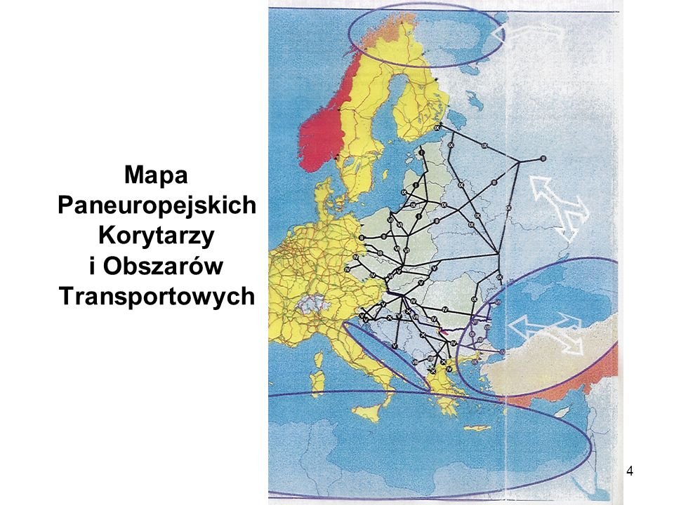 Mapa Paneuropejskich Korytarzy i Obszarów Transportowych