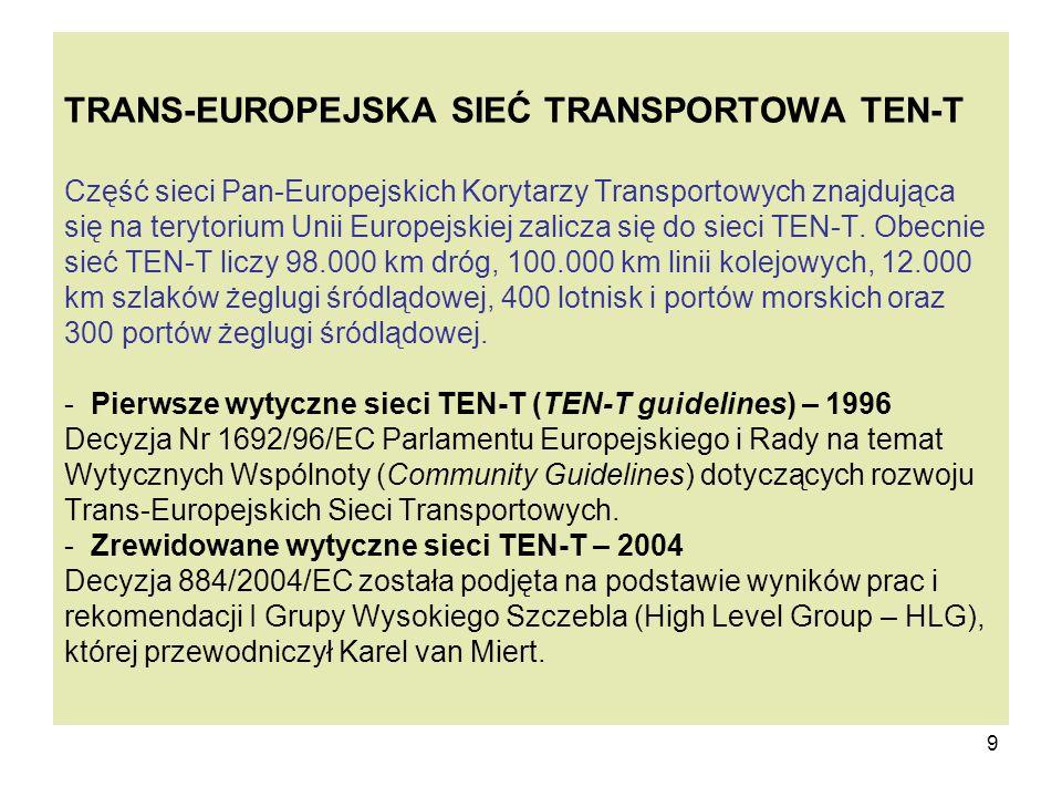 TRANS-EUROPEJSKA SIEĆ TRANSPORTOWA TEN-T Część sieci Pan-Europejskich Korytarzy Transportowych znajdująca się na terytorium Unii Europejskiej zalicza się do sieci TEN-T.