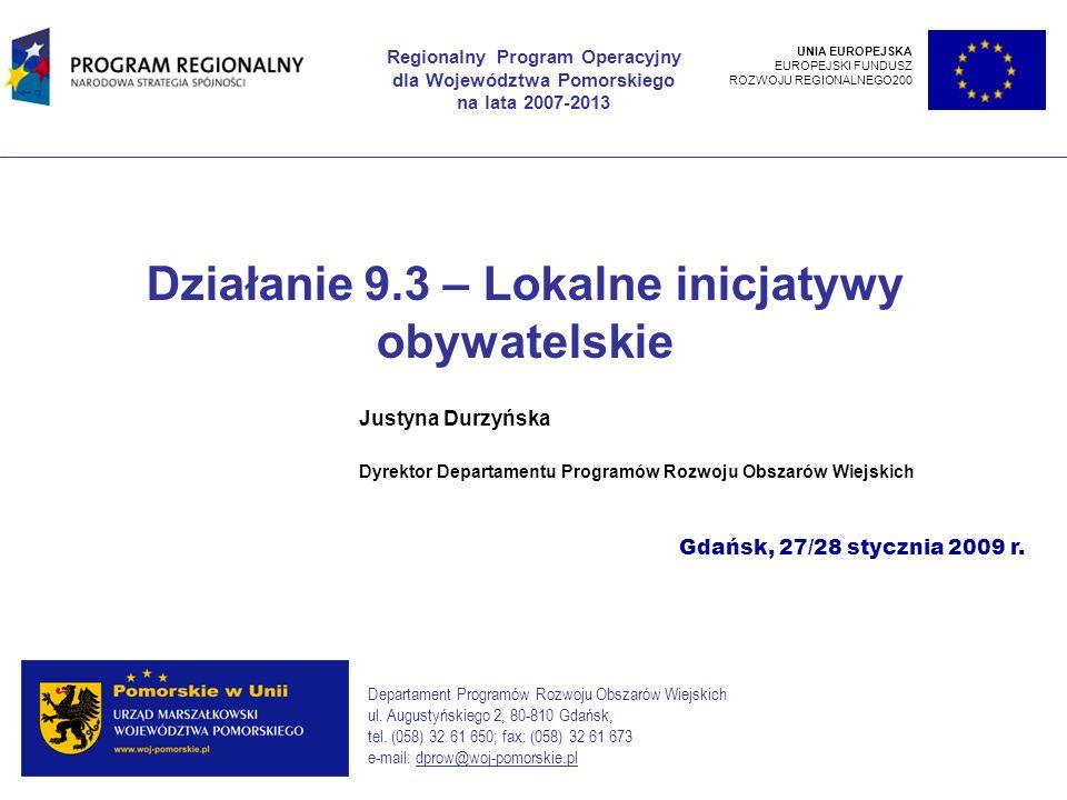 Działanie 9.3 – Lokalne inicjatywy obywatelskie