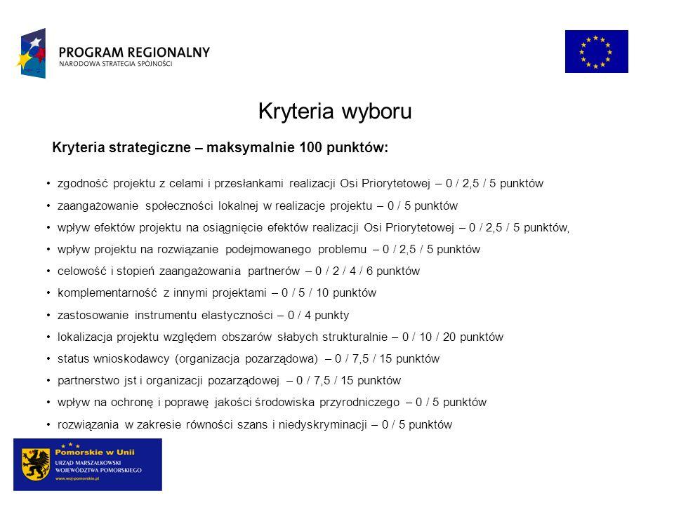 Kryteria wyboru Kryteria strategiczne – maksymalnie 100 punktów: