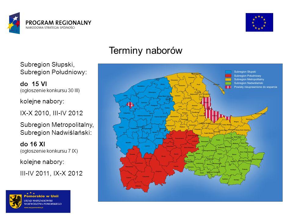 Terminy naborów Subregion Słupski, Subregion Południowy: do 15 VI