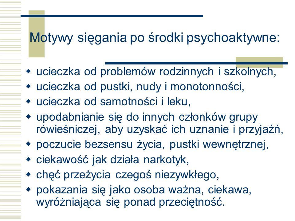 Motywy sięgania po środki psychoaktywne: