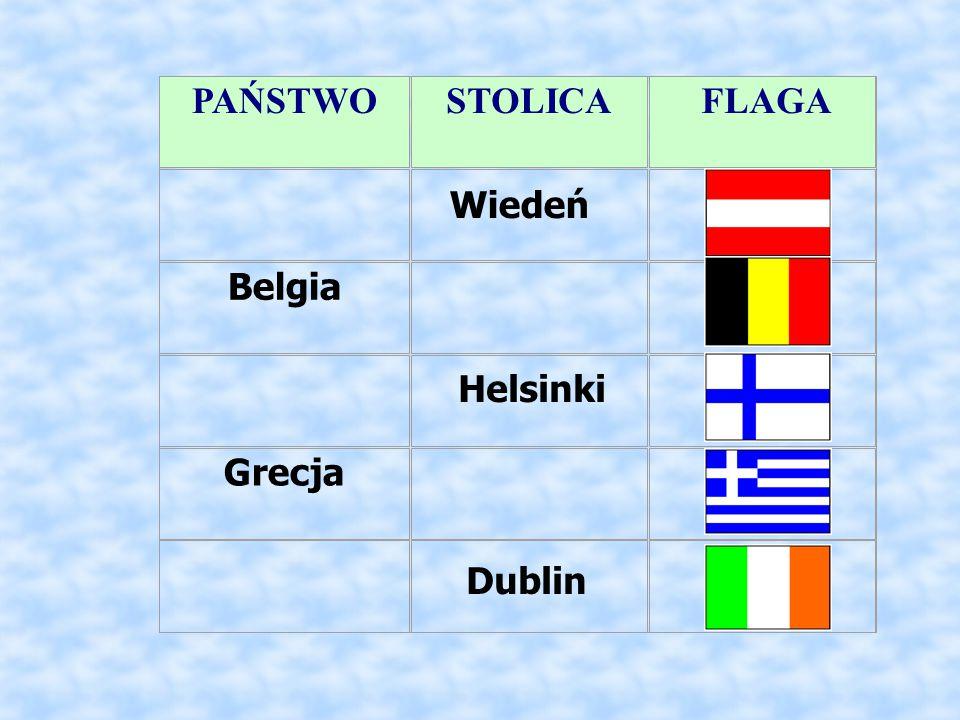 PAŃSTWO STOLICA FLAGA Belgia Grecja Wiedeń Helsinki Dublin