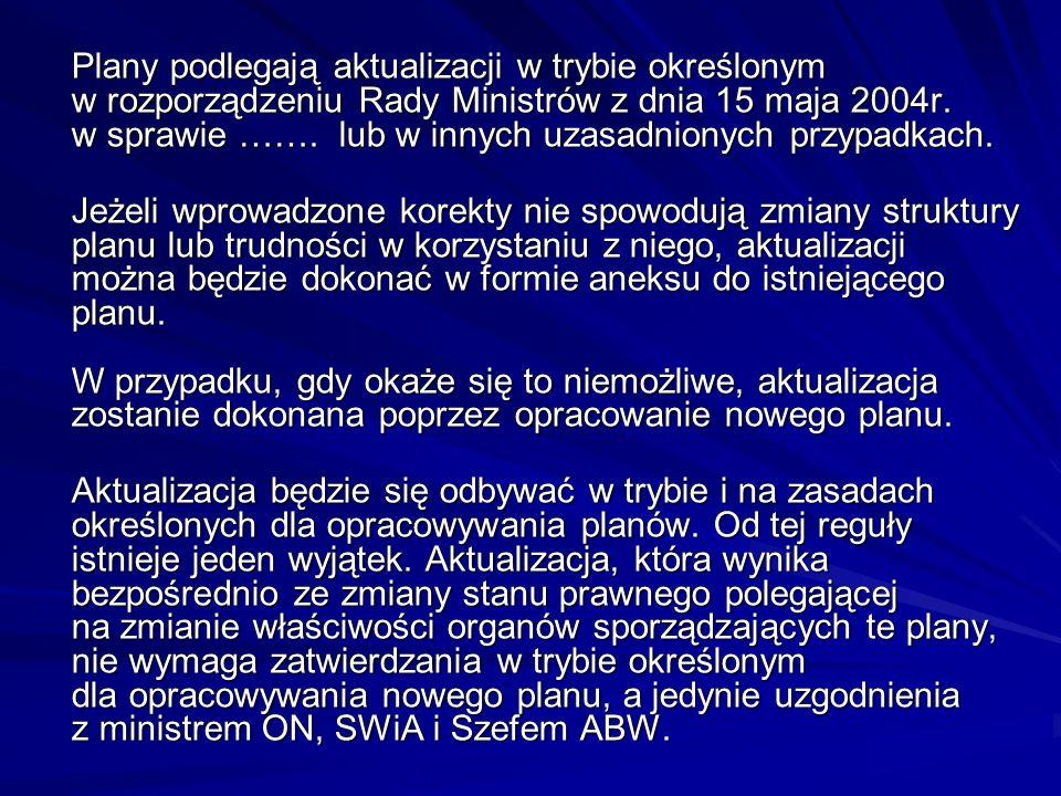 Plany podlegają aktualizacji w trybie określonym w rozporządzeniu Rady Ministrów z dnia 15 maja 2004r. w sprawie ……. lub w innych uzasadnionych przypadkach.
