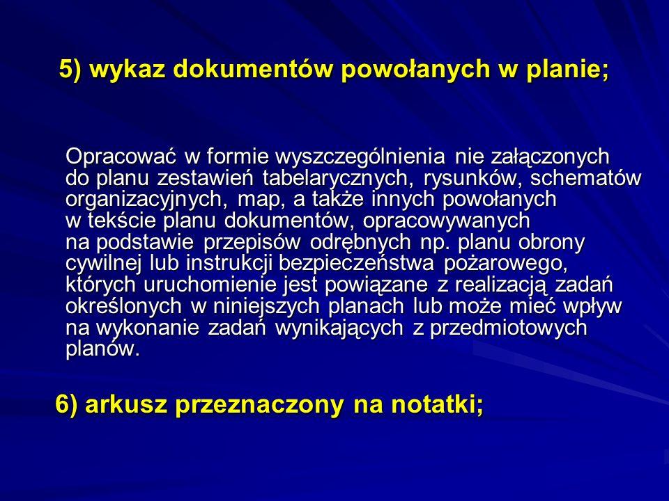 5) wykaz dokumentów powołanych w planie;