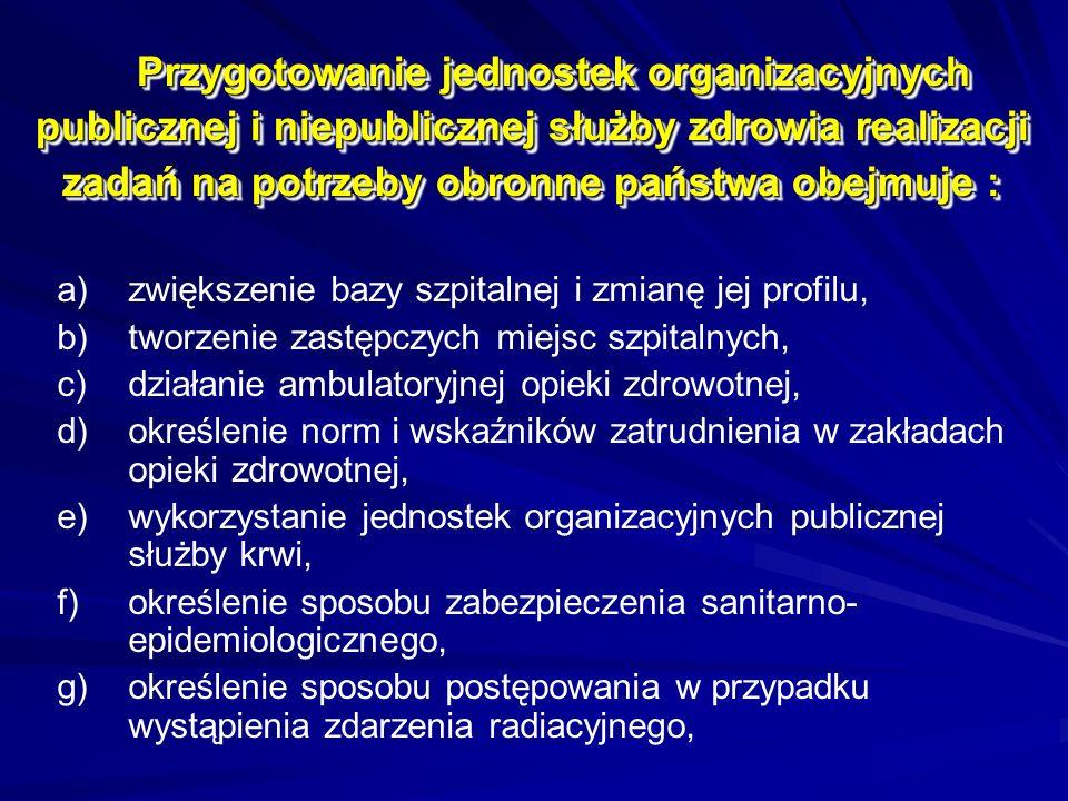 Przygotowanie jednostek organizacyjnych publicznej i niepublicznej służby zdrowia realizacji zadań na potrzeby obronne państwa obejmuje :