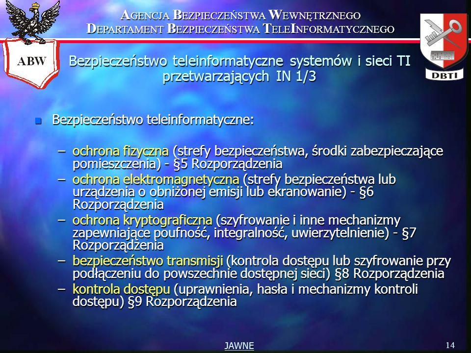 Bezpieczeństwo teleinformatyczne systemów i sieci TI przetwarzających IN 1/3
