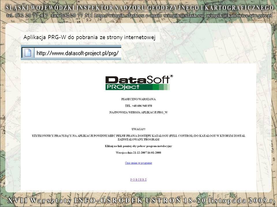 Aplikacja PRG-W do pobrania ze strony internetowej