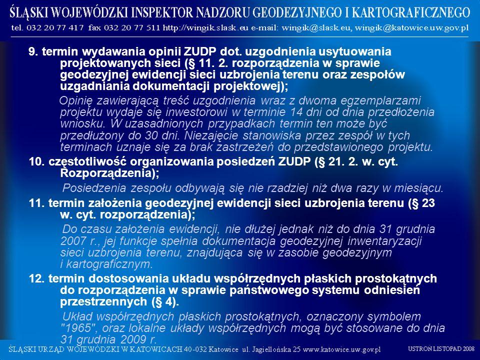 9. termin wydawania opinii ZUDP dot