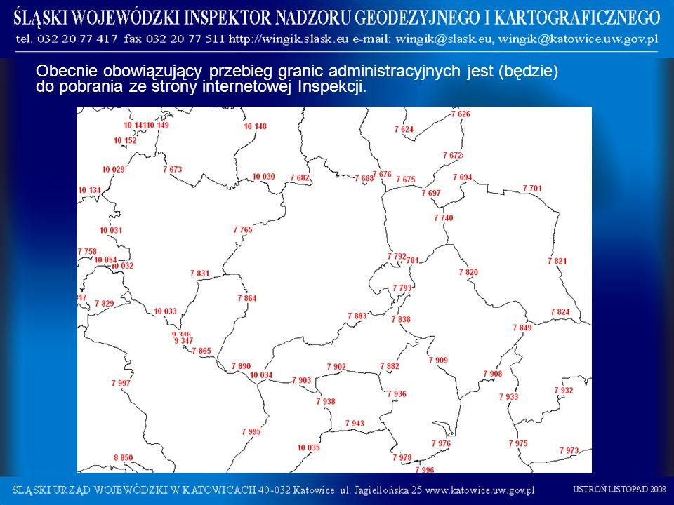 Obecnie obowiązujący przebieg granic administracyjnych jest (będzie) do pobrania ze strony internetowej Inspekcji.