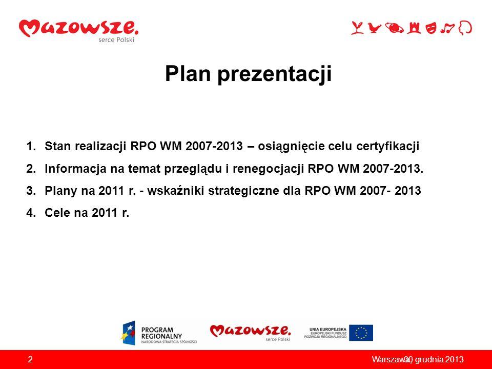 Plan prezentacji Stan realizacji RPO WM 2007-2013 – osiągnięcie celu certyfikacji. Informacja na temat przeglądu i renegocjacji RPO WM 2007-2013.