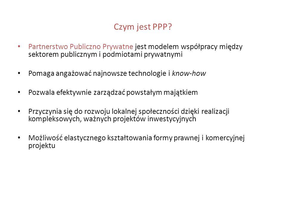 Czym jest PPP Partnerstwo Publiczno Prywatne jest modelem współpracy między sektorem publicznym i podmiotami prywatnymi.