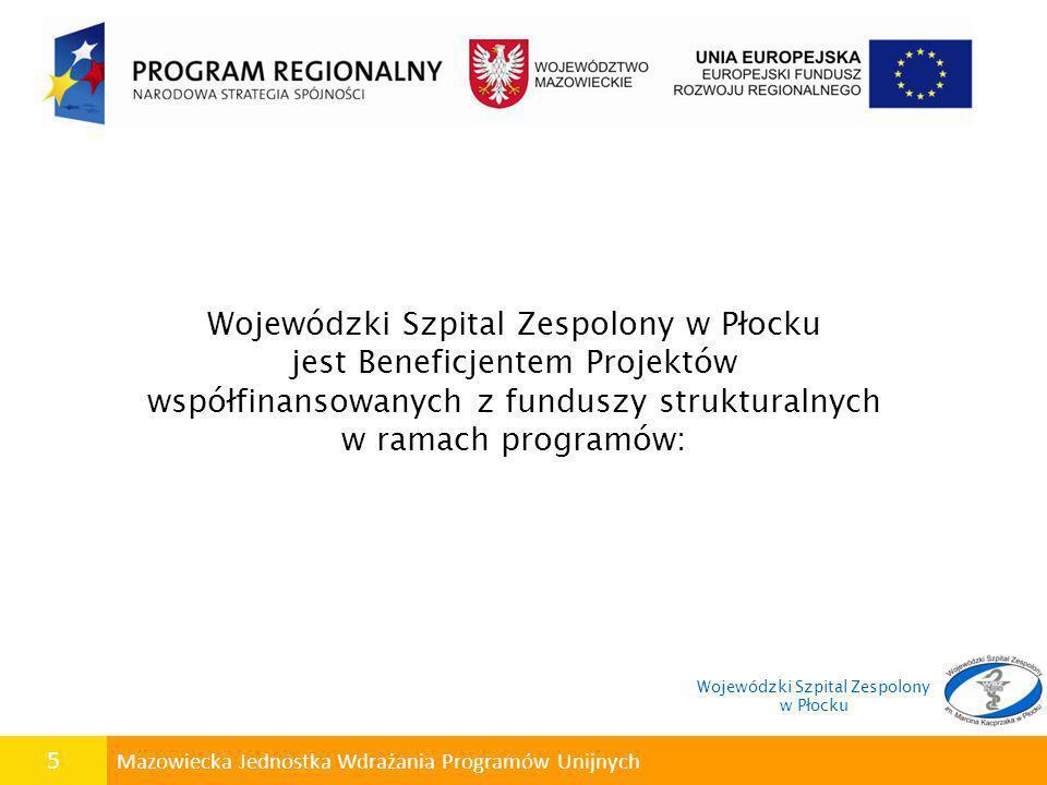 Wojewódzki Szpital Zespolony w Płocku jest Beneficjentem Projektów