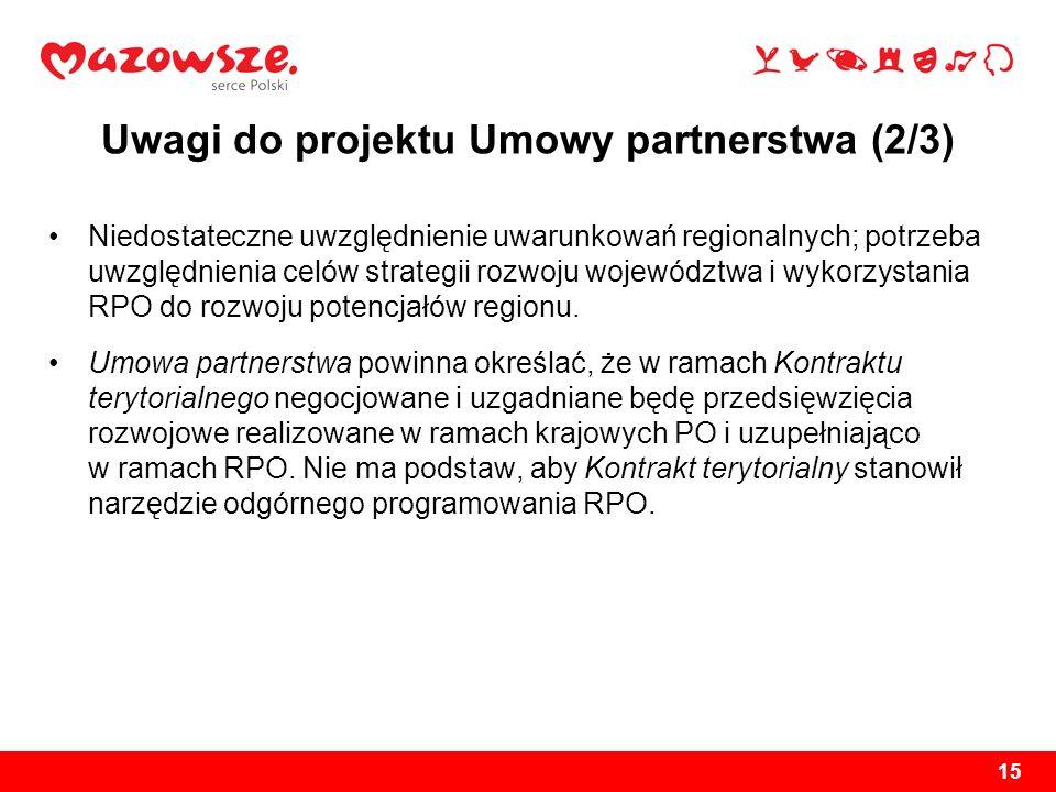 Uwagi do projektu Umowy partnerstwa (2/3)