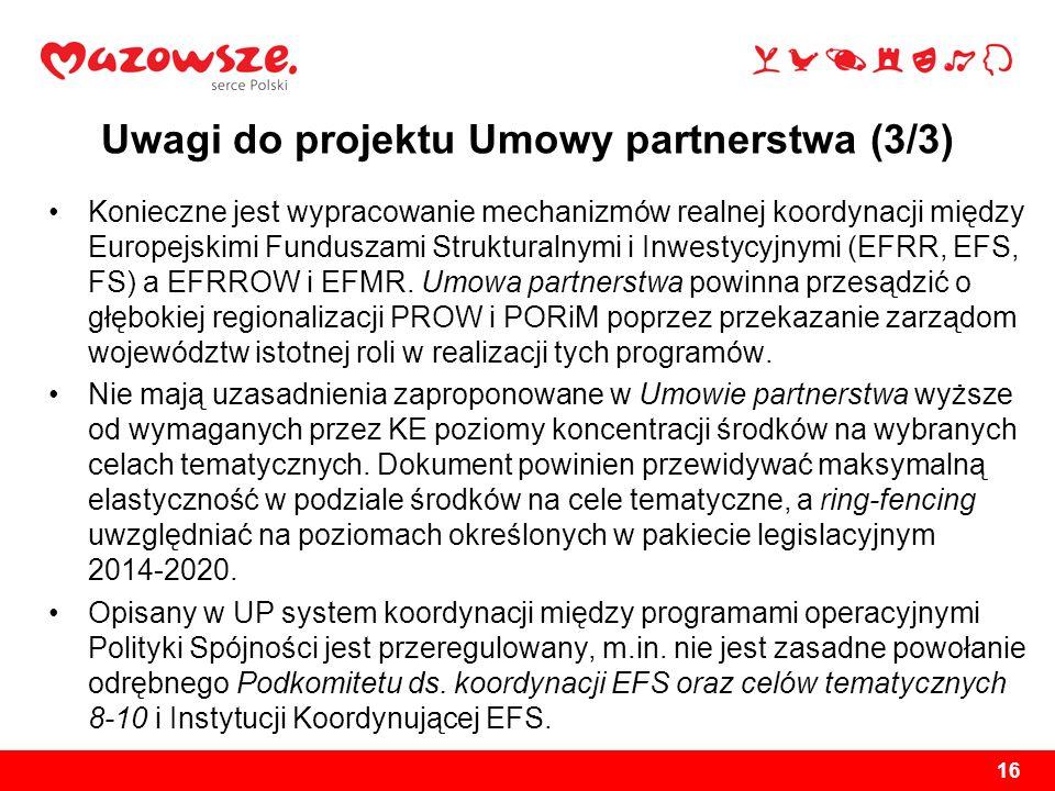 Uwagi do projektu Umowy partnerstwa (3/3)