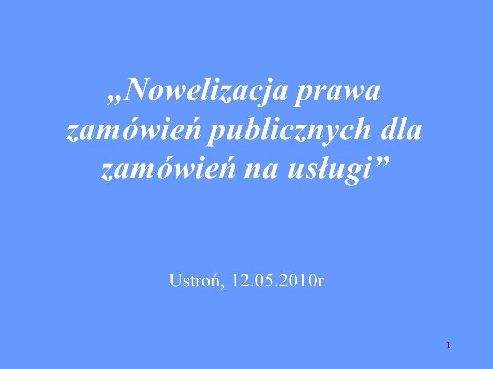 """""""Nowelizacja prawa zamówień publicznych dla zamówień na usługi"""