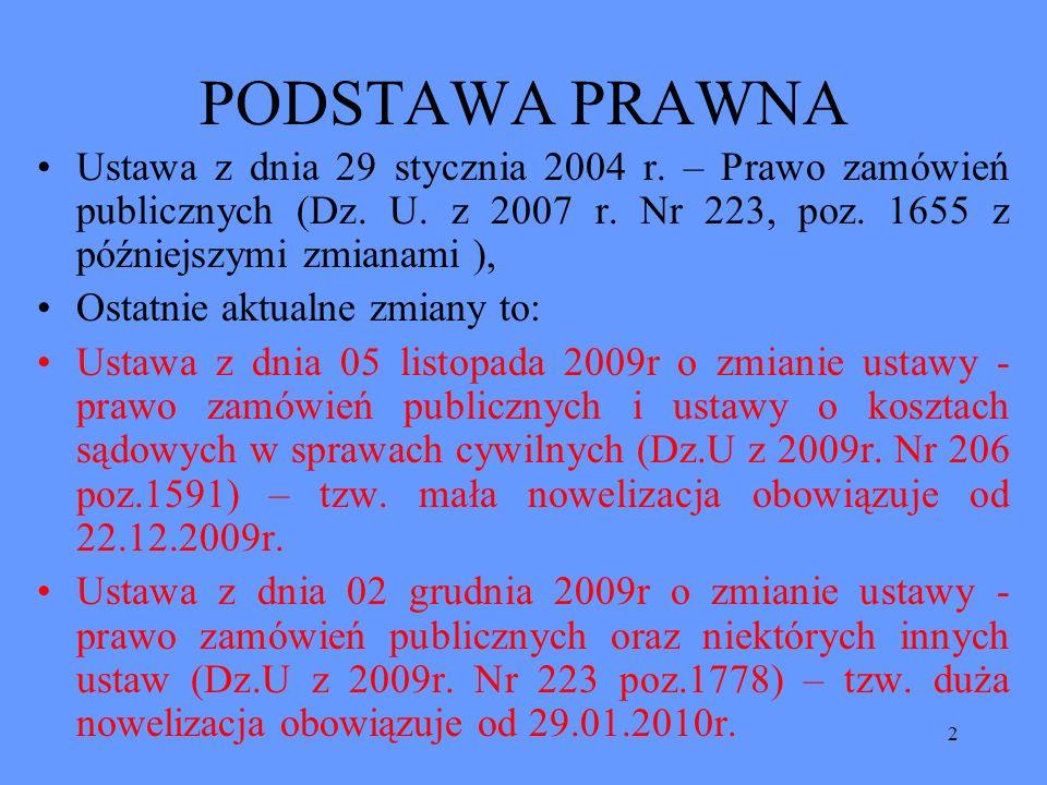 PODSTAWA PRAWNA Ustawa z dnia 29 stycznia 2004 r. – Prawo zamówień publicznych (Dz. U. z 2007 r. Nr 223, poz. 1655 z późniejszymi zmianami ),