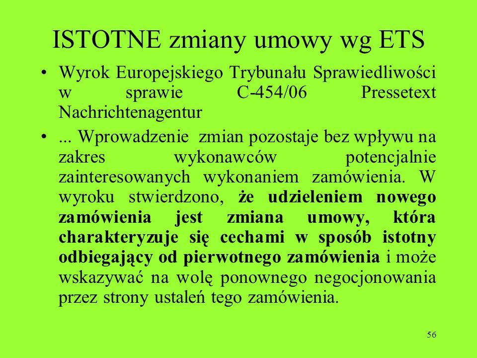ISTOTNE zmiany umowy wg ETS