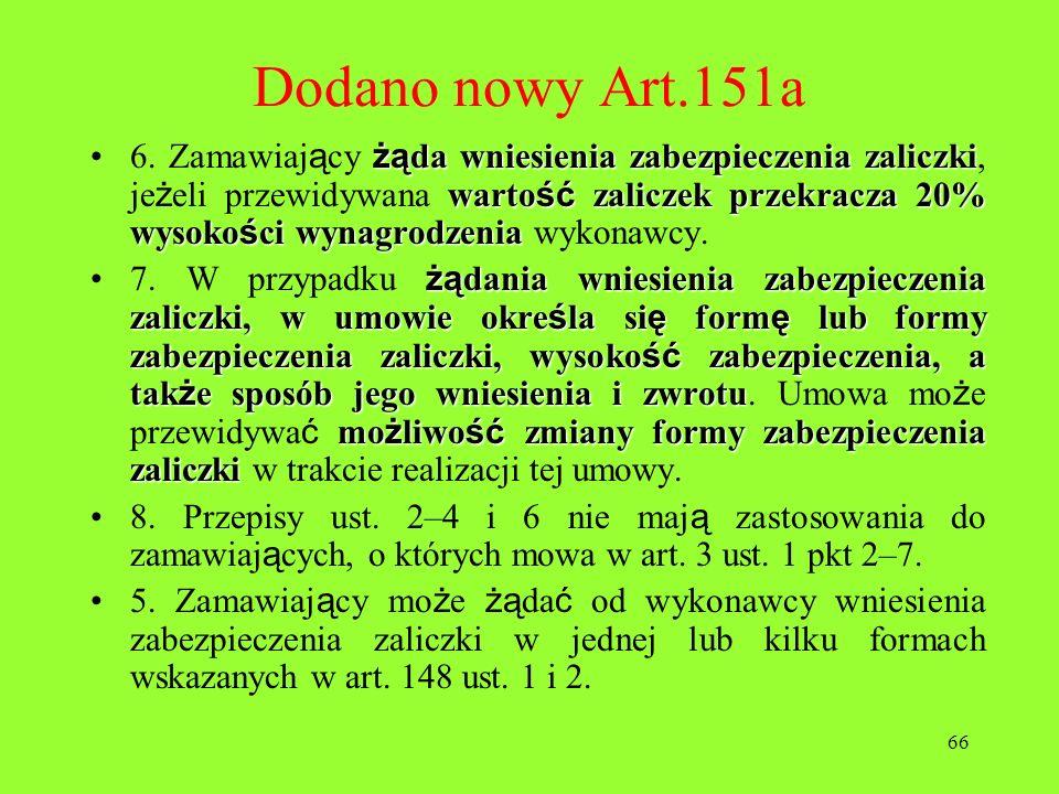 Dodano nowy Art.151a