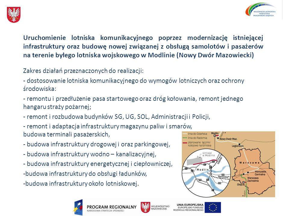 Uruchomienie lotniska komunikacyjnego poprzez modernizację istniejącej infrastruktury oraz budowę nowej związanej z obsługą samolotów i pasażerów na terenie byłego lotniska wojskowego w Modlinie (Nowy Dwór Mazowiecki)
