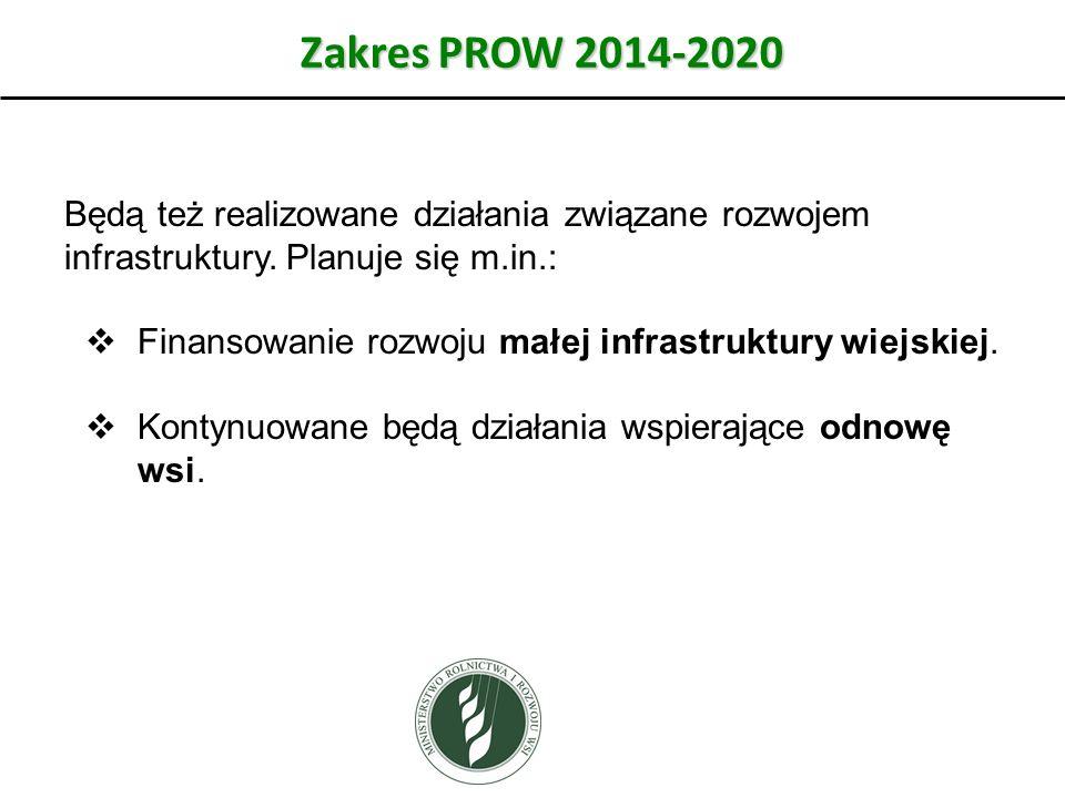 Zakres PROW 2014-2020 Będą też realizowane działania związane rozwojem infrastruktury. Planuje się m.in.:
