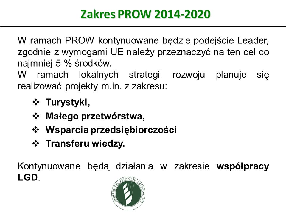 Zakres PROW 2014-2020