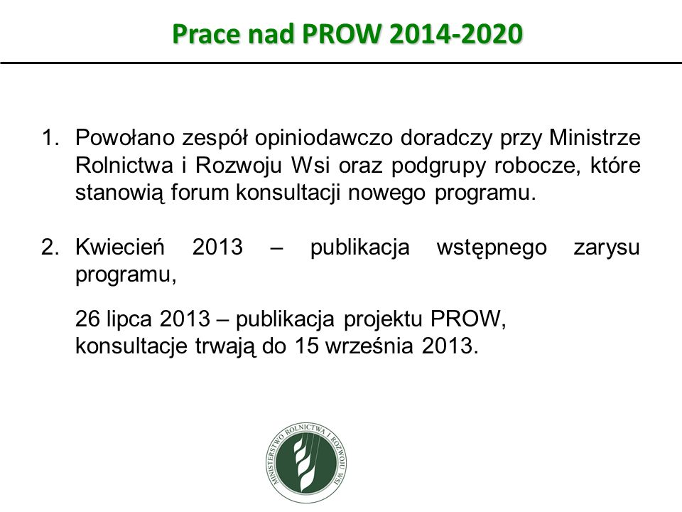 Prace nad PROW 2014-2020