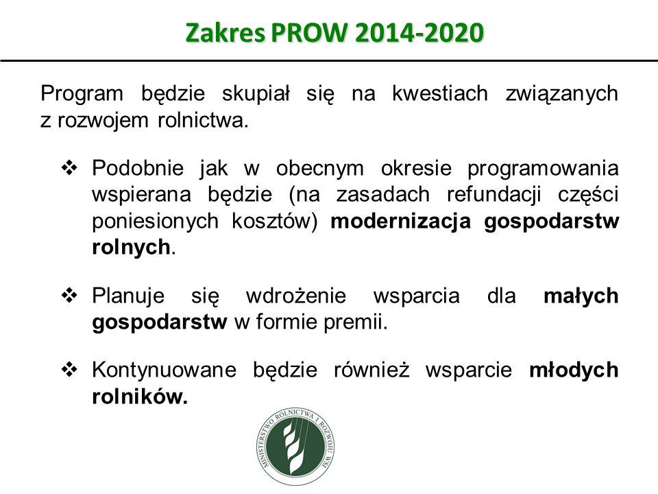 Zakres PROW 2014-2020 Program będzie skupiał się na kwestiach związanych z rozwojem rolnictwa.