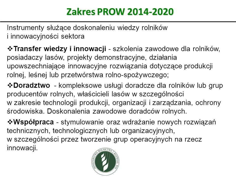 Zakres PROW 2014-2020 Instrumenty służące doskonaleniu wiedzy rolników i innowacyjności sektora.