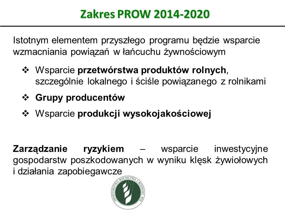 Zakres PROW 2014-2020 Istotnym elementem przyszłego programu będzie wsparcie wzmacniania powiązań w łańcuchu żywnościowym.
