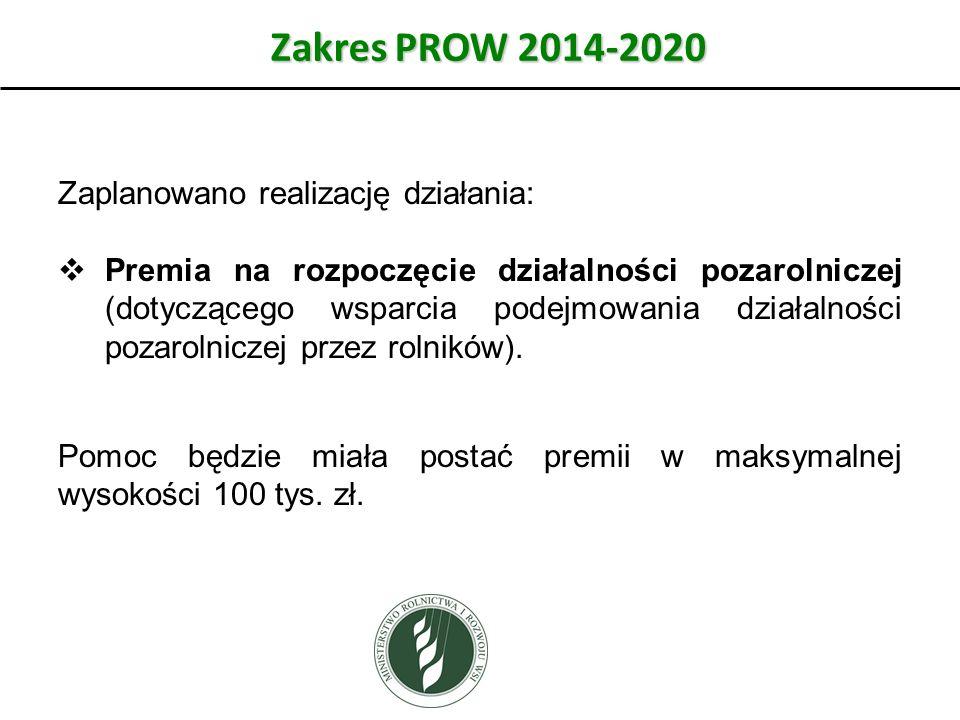 Zakres PROW 2014-2020 Zaplanowano realizację działania: